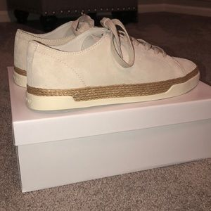 VINCE off white suede sneakers